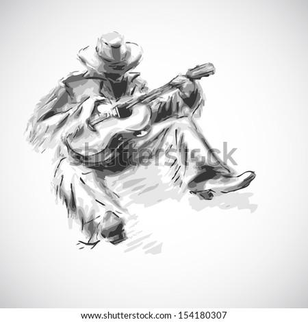 Country man sketch. Raster version - stock photo