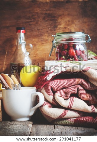 Country Picnic Set with Vintage objects, Plaid, Dishes, Fruits, Bottle. Composition - stock photo