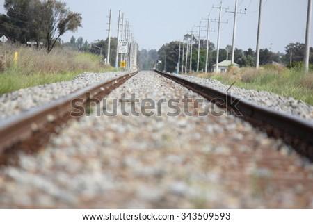 Country Railroad Griffith, NSW, Australia 2 - stock photo