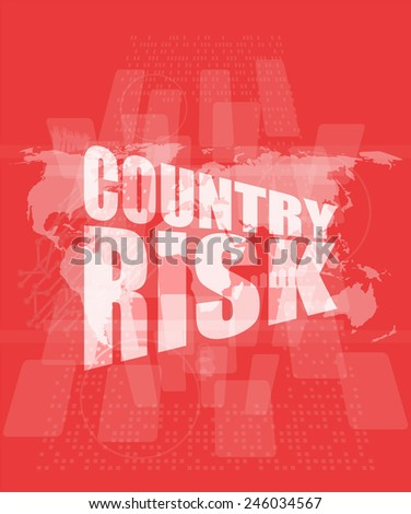 country risk words on digital screen with world map - stock photo