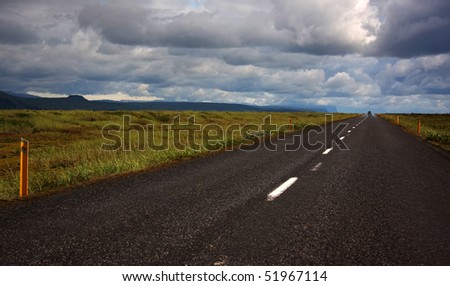 Country road in Southern Iceland - stock photo