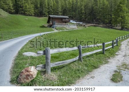 Country Road in Switzerland - stock photo
