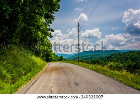 Country road in the Potomac Highlands, West Virginia - stock photo