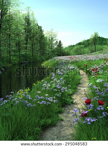 Country road passes  through Meadow near a river. Lawn with flowers near the river. 3D  Illustration, 3D rendering - stock photo
