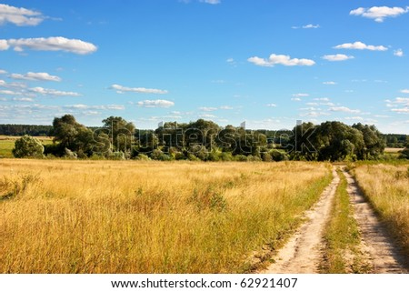 Country road through meadow under cloud in summer - stock photo