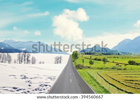 country road through mountainous winter and spring landscape, seasons rotation, climate change - stock photo