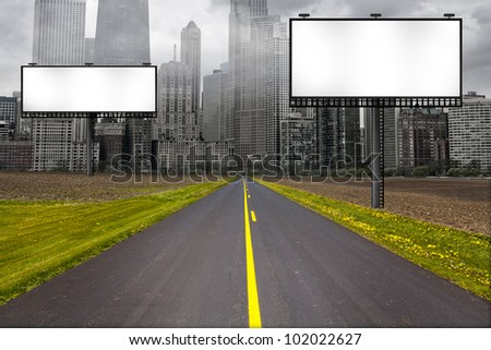 Country Road with Billboard - stock photo
