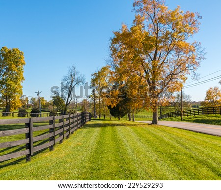 Country scenery in autumn season - stock photo
