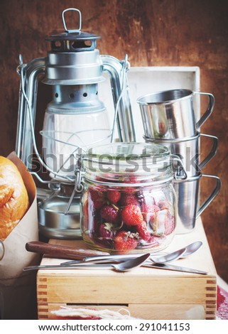 Country Still life  with Metal Vintage objects, Dishes, Fruits, Lamp - stock photo