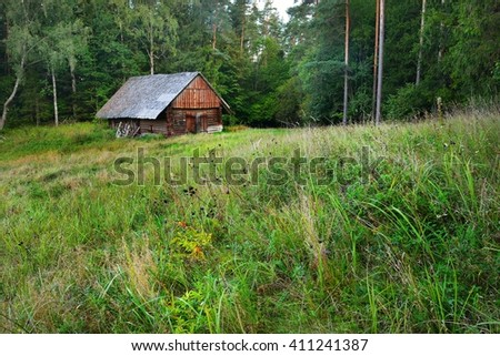 Countryside house in rural forest area, Latvia - stock photo