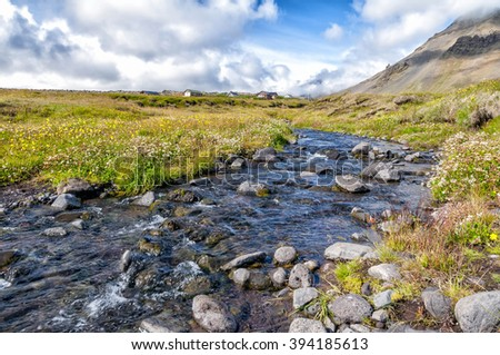 Countryside in Snaefellsnes peninsula. The Snaefellsnes is a peninsula situated in western Iceland. It has been named Iceland in Miniature, because many national sights can be found in the area. - stock photo