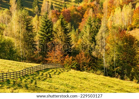 Countryside landscape in a romanian villlage at the food of Piatra Craiului Mountains. - stock photo