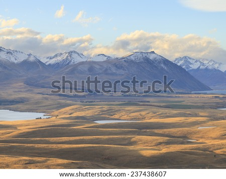 Countryside of the New Zealand, view from Mount John Observatory to Lake Alexandrina, Canterbury, South Island, New Zealand. - stock photo