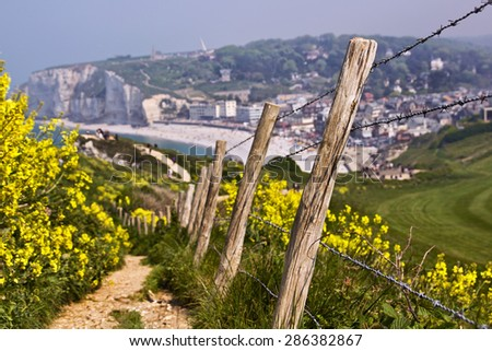 Countryside path on the hills of famous Etretat town , in Normandy, France - stock photo