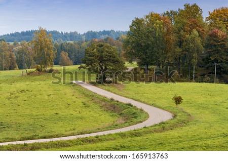 Countryside road near village of Araishi, Cesis region, Latvia, Europe - stock photo