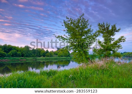 Countryside spring landscape blue dawn sky trees purple clouds Narew river Poland - stock photo