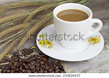 Countryside,Still Life Cup of art coffee on wooden  - stock photo
