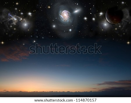 Countryside sunset landscape with planets in night sky Elements of this image furnished by NASA.gov - stock photo