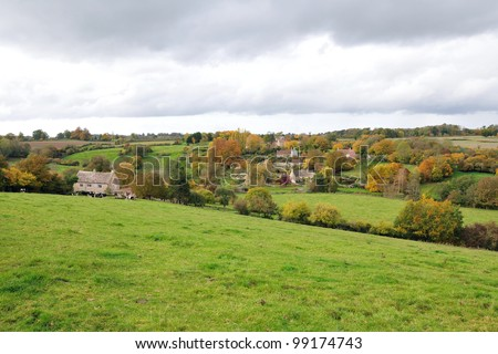 Countryside View of a Green Field in the Frome Valley on the Somerset Wiltshire Border Near the City of Bath in England - stock photo