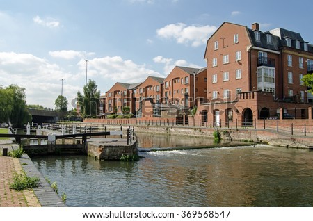 County Lock in Reading, Berkshire - the eastern-most lock on the Kennet and Avon Canal viewed on a sunny day in September.   - stock photo