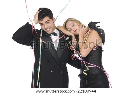 couple after a new year party and girl without shoes and tired - stock photo