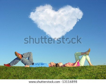 couple and heart cloud - stock photo