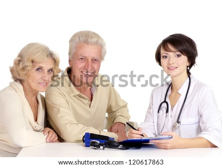 couple and young doctor - stock photo