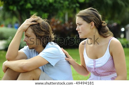 Couple argue and are not happy with each other - stock photo