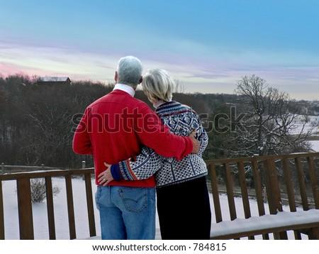 Couple at ski resort - stock photo