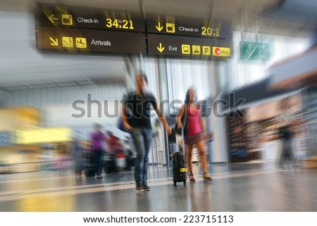 Couple at the Airport - stock photo