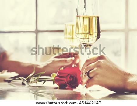 Couple Celebration Drinks Champagne Love Concept - stock photo