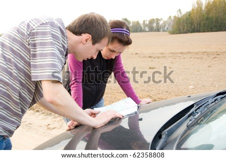 Couple chooses the road - stock photo