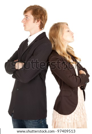 couple crisis - relationship difficulties: young couple after a fight - stock photo