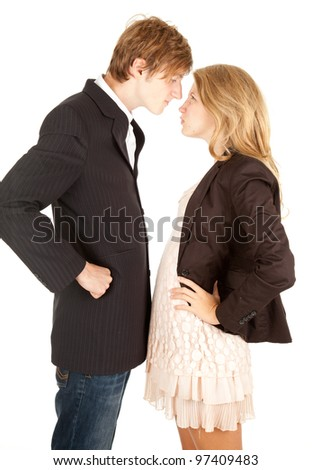 couple crisis - relationship difficulties: young couple fighting - stock photo
