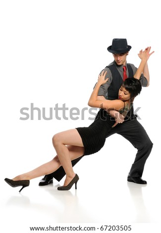 Couple dancing Tango isolated on a white background - stock photo