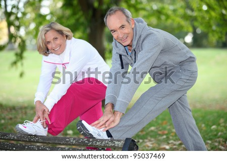 couple doing sport - stock photo