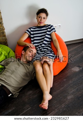 Couple dreams of a good home - stock photo
