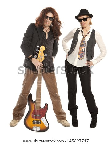 Couple duet. Woman and man with guitar on a white background  - stock photo