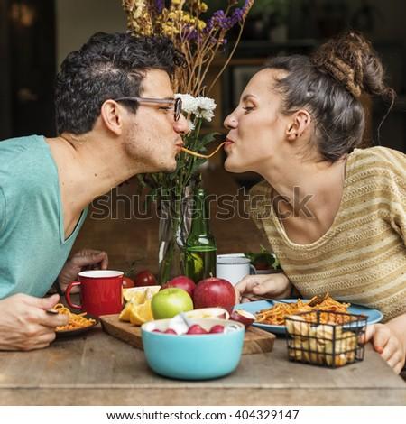 Couple Eating Food Feeding Sweet Concept - stock photo