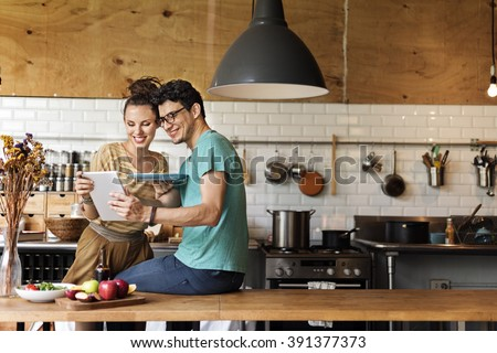 Couple Eating Spaghetti Sweet Moments Concept - stock photo