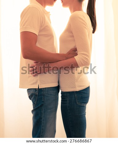 Couple embracing each other. - stock photo