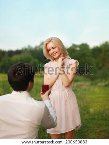 Couple engagement, love, wedding - concept - stock photo