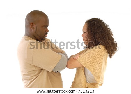 Couple facing relationship difficulties and both being stubborn about it - stock photo