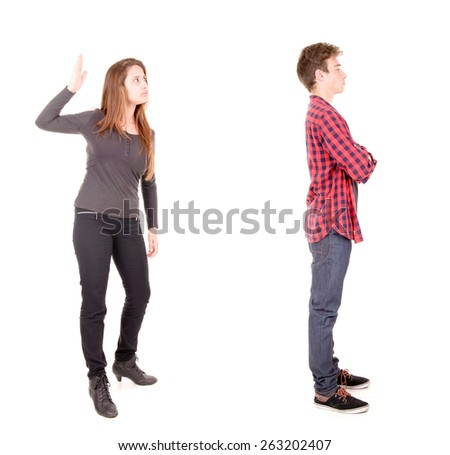 couple fighting isolated in white background - stock photo