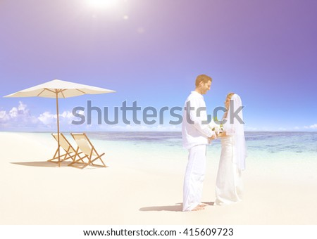 Couple Getting Marriage on the Beach Concept - stock photo