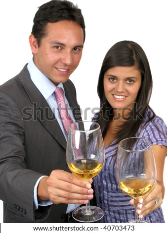 Couple happy businesspeople with champagne at celebration - stock photo