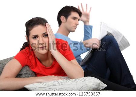 Couple having an argument. - stock photo