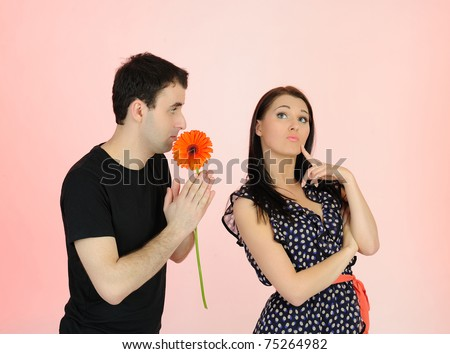 Couple having problems in relationship. guilty man asking for forgiveness - stock photo
