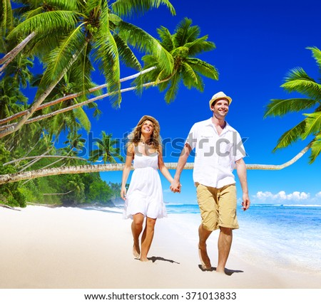 Couple Honeymoon Tropical Beach Romantic Concept - stock photo