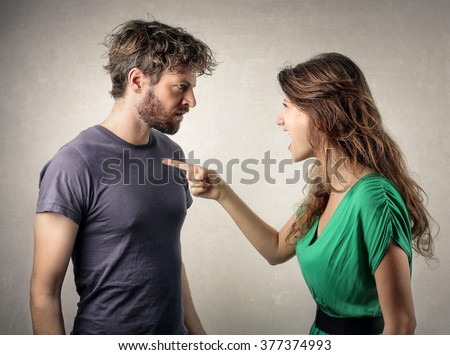Couple in a fight - stock photo